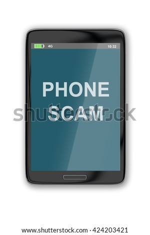 "3D illustration of ""PHONE SCAM"" title on cellular screen, isolated on white. Fraud concept - stock photo"