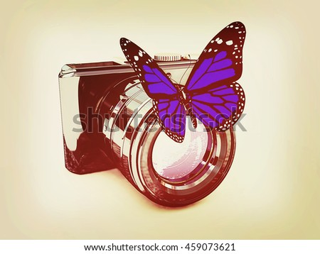 3d illustration of photographic camera and butterfly on white background. 3D illustration. Vintage style. - stock photo