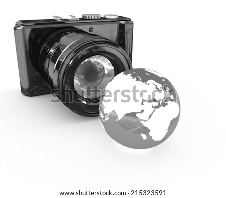 3d illustration of photographic camera and Earth on white background - stock photo