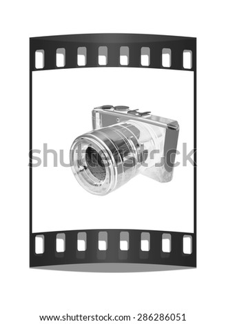 3d illustration of photographic camera on white background. The film strip - stock photo