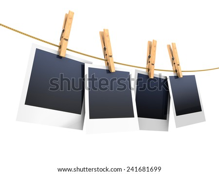 3d illustration of photos on rope, isolated over white - stock photo