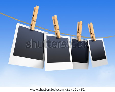 3d illustration of photos on rope, over blue background