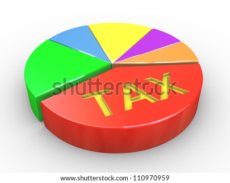 3d Illustration of pie chart with word tax - stock photo