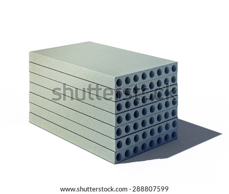 3d illustration of pile of concrete panels isolated on white background - stock photo