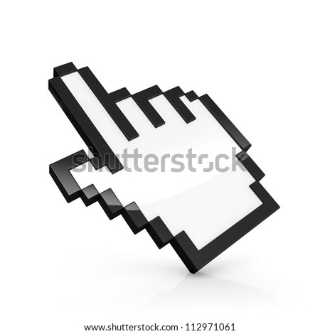 3D illustration of pixelated hand pointer isolated on white - stock photo