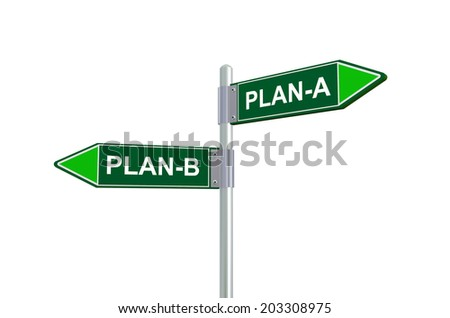 3d illustration of plan-A and plan-B road sign - stock photo