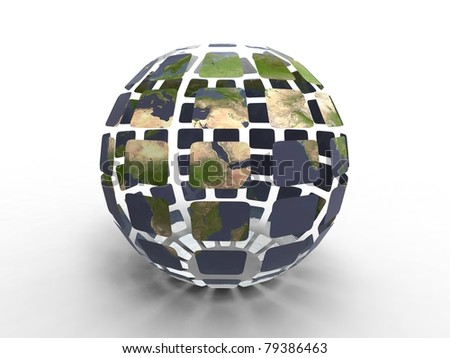3d illustration of planet earth construct with facet on white background