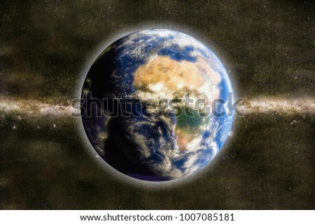 3d illustration of planet earth  from space