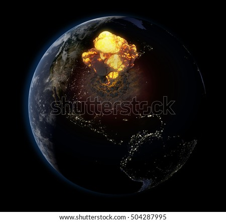 3D Illustration of Planet Earth & North America Nuclear Explosion (Elements of this image furnished by NASA)