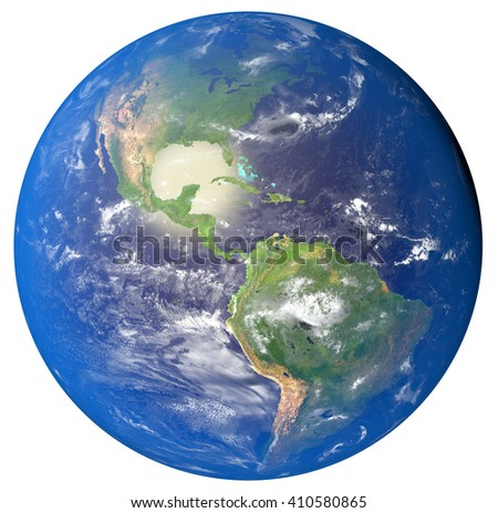 3D illustration of planet Earth with continents and blue ocean w