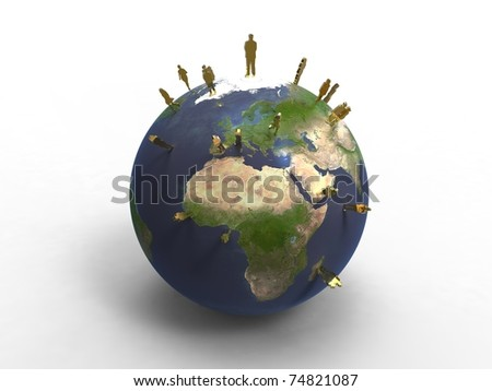3d illustration of planet earth with human activities