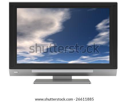 3d illustration of plasma tv over white background - stock photo