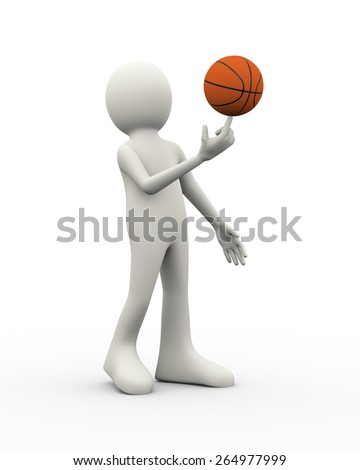 3d illustration of player man balance holding spinning basketball on his finger. 3d human person character and white people - stock photo