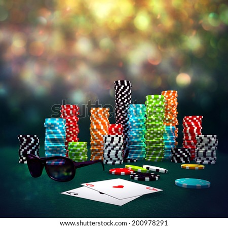 3d illustration of Poker Chips, sunglasses and cards on a gaming table. - stock photo