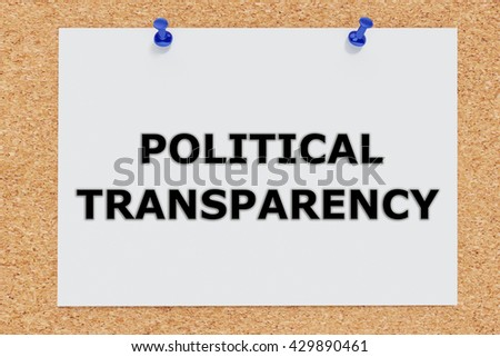 """3D illustration of """"POLITICAL TRANSPARENCY"""" on cork board. Political concept. - stock photo"""