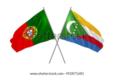 3d illustration of Portugal and Comoros flags waving