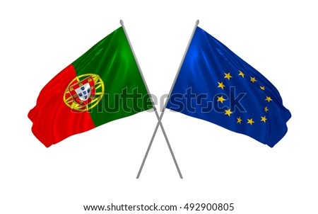 3d illustration of Portugal and EU flags waving