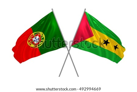 3d illustration of Portugal and Sao Tome and Principe flags waving