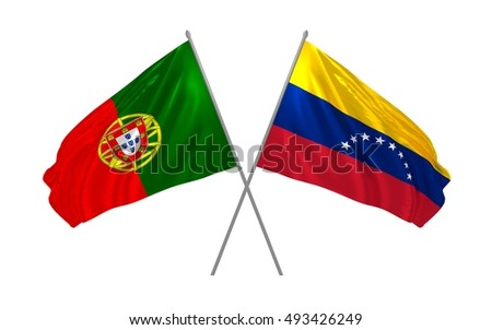 3d illustration of Portugal and Venezuela flags waving