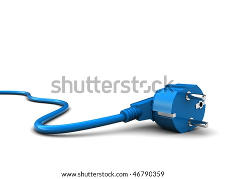3d illustration of power cord over white background - stock photo