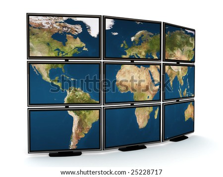 3d illustration of presentation tv wall over white background - stock photo