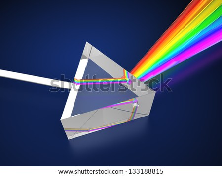 3d illustration of prism with light spectrum - stock photo