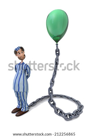3D illustration of prisoner dreaming about freedom - stock photo
