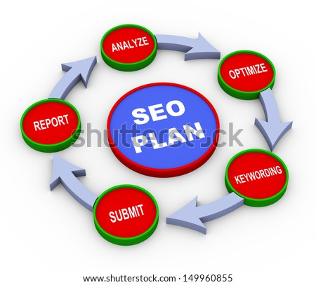 3d Illustration of process of seo search engine optimization plan - stock photo