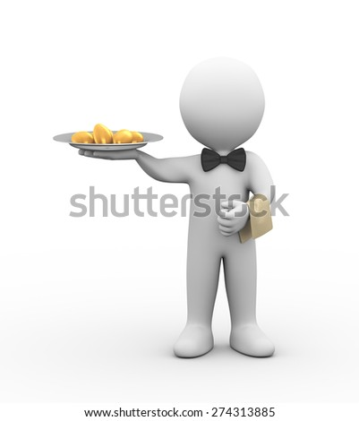 3d illustration of professional waiter holding plate of golden egg.  3d rendering of human people character - stock photo