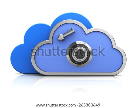 3d illustration of protected cloud icon or symbol