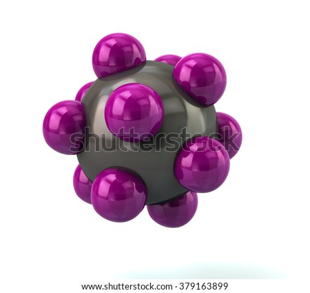 3d illustration of purple molecule isolated on white background