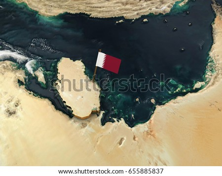 3 d illustration qatars physical map flag stock illustration 3d illustration of qatars physical map with flag marking the capital doha publicscrutiny Images