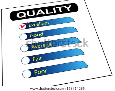 3d illustration of quality survey form check list with tick mark on excellent. - stock photo