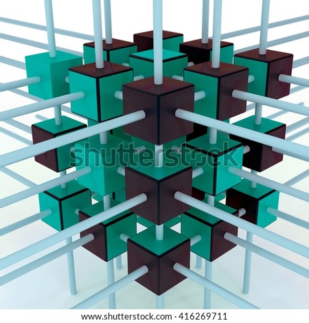 3d illustration of quantum computer concept / Quantum calculations - stock photo