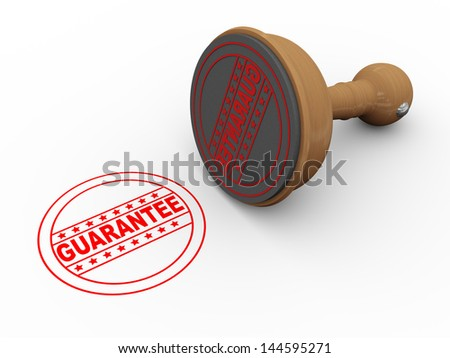 3d illustration of quarantee wooden rubber stamp - stock photo