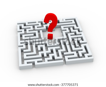 3d illustration of question mark sign symbol in complicated maze - stock photo