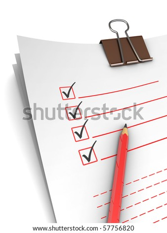 3d illustration of questionnaire with pencil, over white background - stock photo