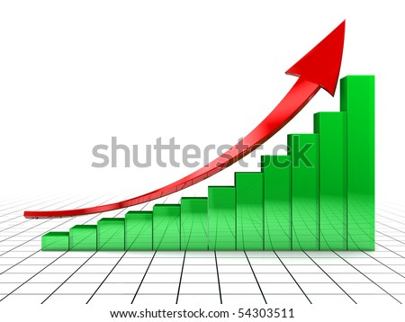 3d illustration of raising charts and arrow, over grid background - stock photo