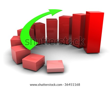 3d illustration of raising charts and green arrow over white background