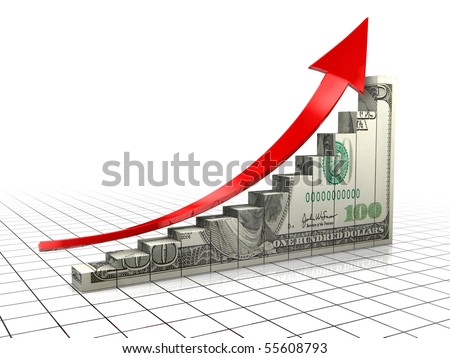 3d illustration of raising charts with dollar texture and upward arrow - stock photo