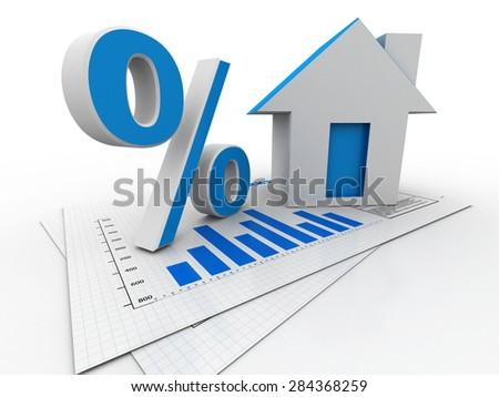 3D illustration of real estate. House and percentage sign - stock photo