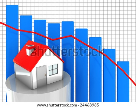 3d illustration of real estate market graph - stock photo