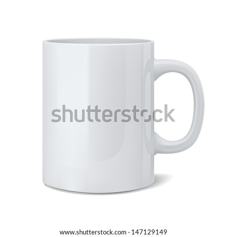 3d illustration of realistic classic white cup - stock photo