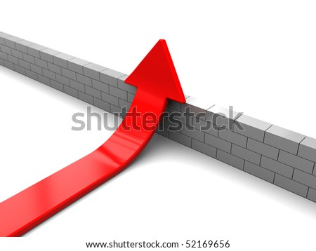 3d illustration of red arrow and wall, solution concept - stock photo