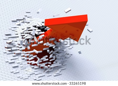 3D illustration of red arrow breaking through a white brick wall. - stock photo