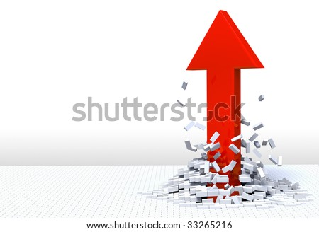 3D illustration of red arrow shooting up and breaking through a white brick floor. - stock photo