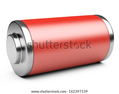 3D illustration of red battery isolated on a white background - stock photo
