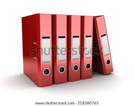 3d illustration of red binder folders over white background - stock photo