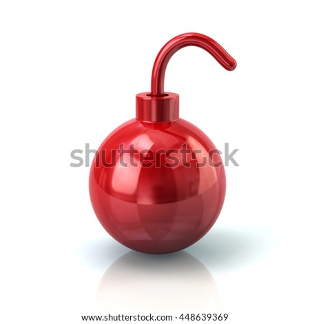 3d illustration of red bomb icon isolated on white background - stock photo
