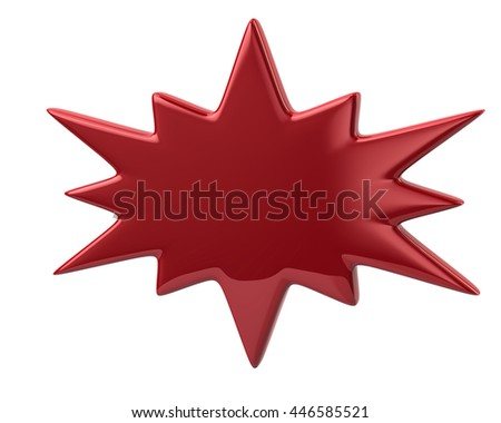 3d illustration of red bursting icon isolated on white background - stock photo